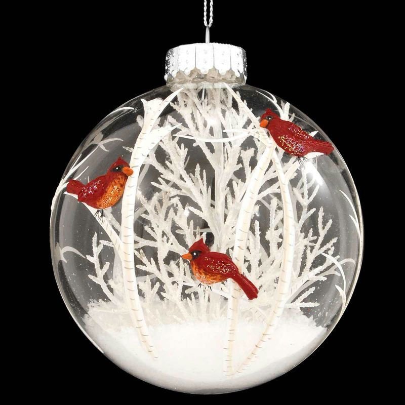 Cardinals Scene With White Tree Glass Ornament  sc 1 st  Pinterest & Cardinals Scene With White Tree Glass Ornament | Ornament Clear ...