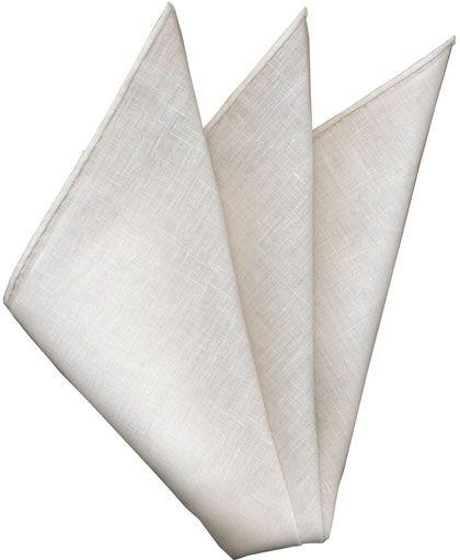 White Libeco-Lagae Belgian Linen Pocket Square