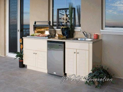 Small Outdoor Kitchen With White Cabinet With Sink Outdoor Kitchen Cabinets Outdoor Kitchen Appliances Simple Outdoor Kitchen