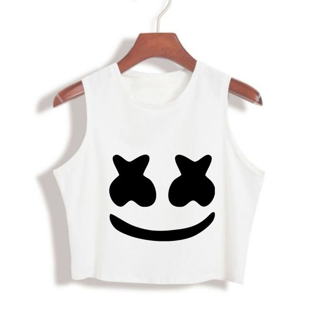 394819f189 2017 New Arrival Summer Women Tops marshmello face Crop Top High Quality Cropped  tumblr clothing camisetas mujer Loose Tank Top-in Tank Tops from Women's ...