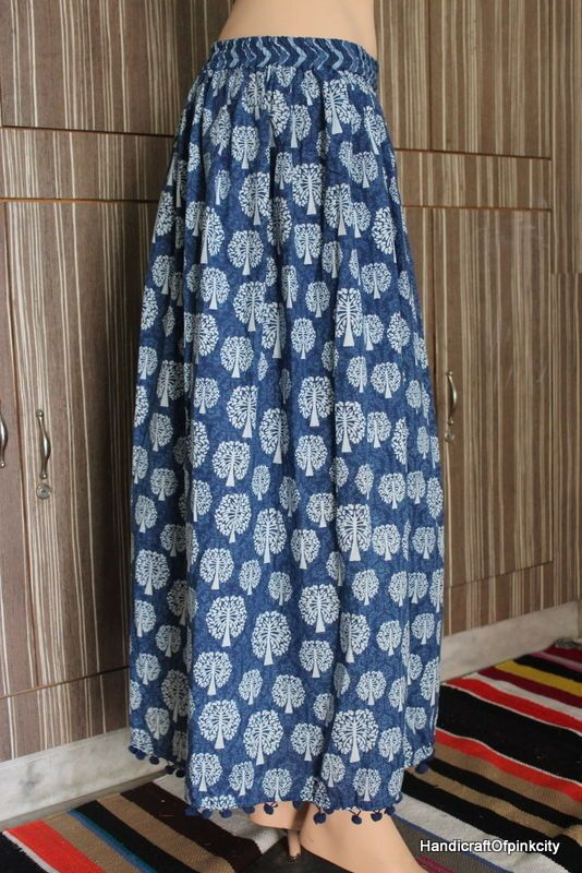 Indian Hand block DabuPrint cotton skirt women full size skirt Hippy Woman Dress #Unbranded #Mini