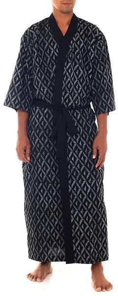 Black and White Print Men s Cotton Robe with Self Belt 6e19372be
