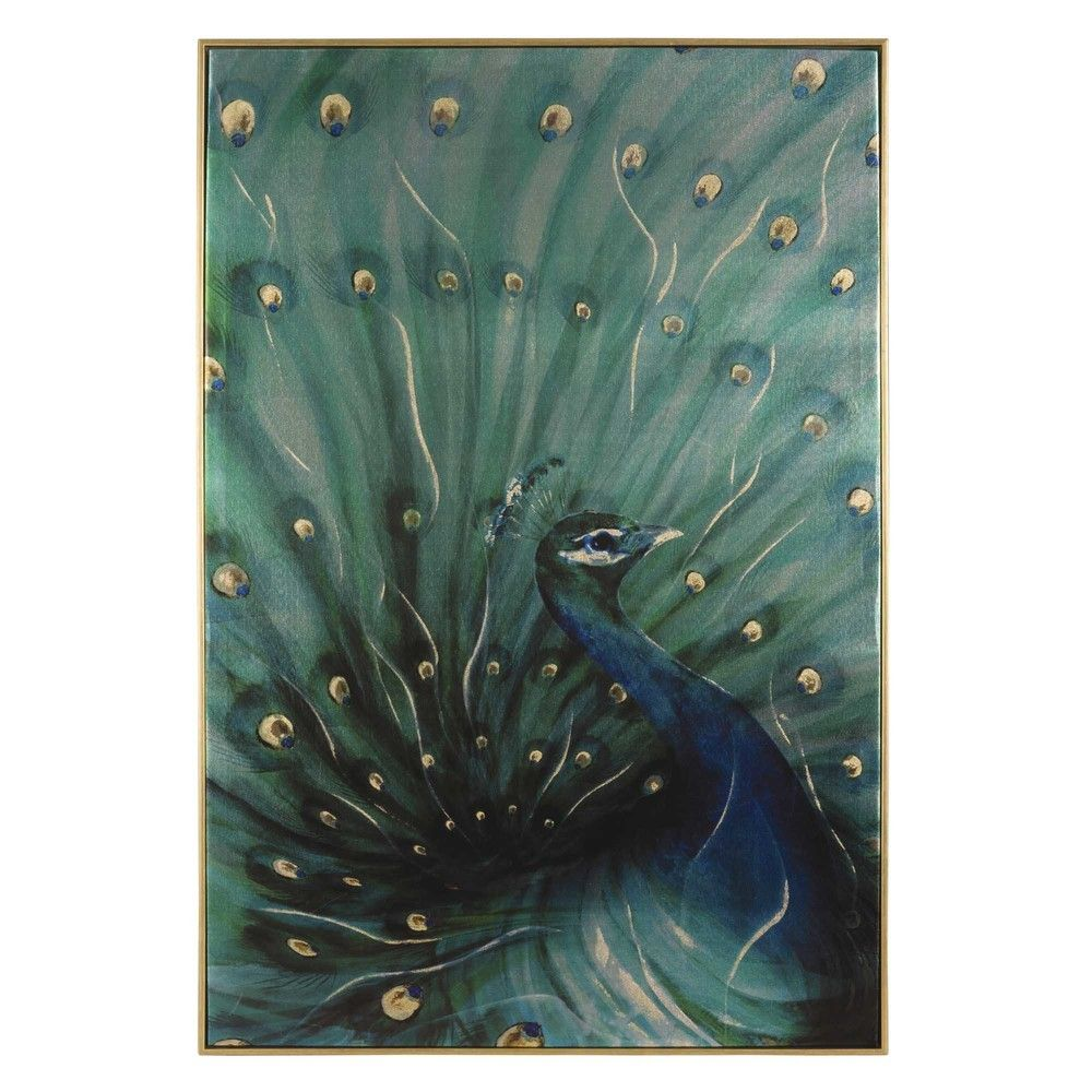Toile paon 60x90 | Art pictures | Green wall art, Peacock wall art