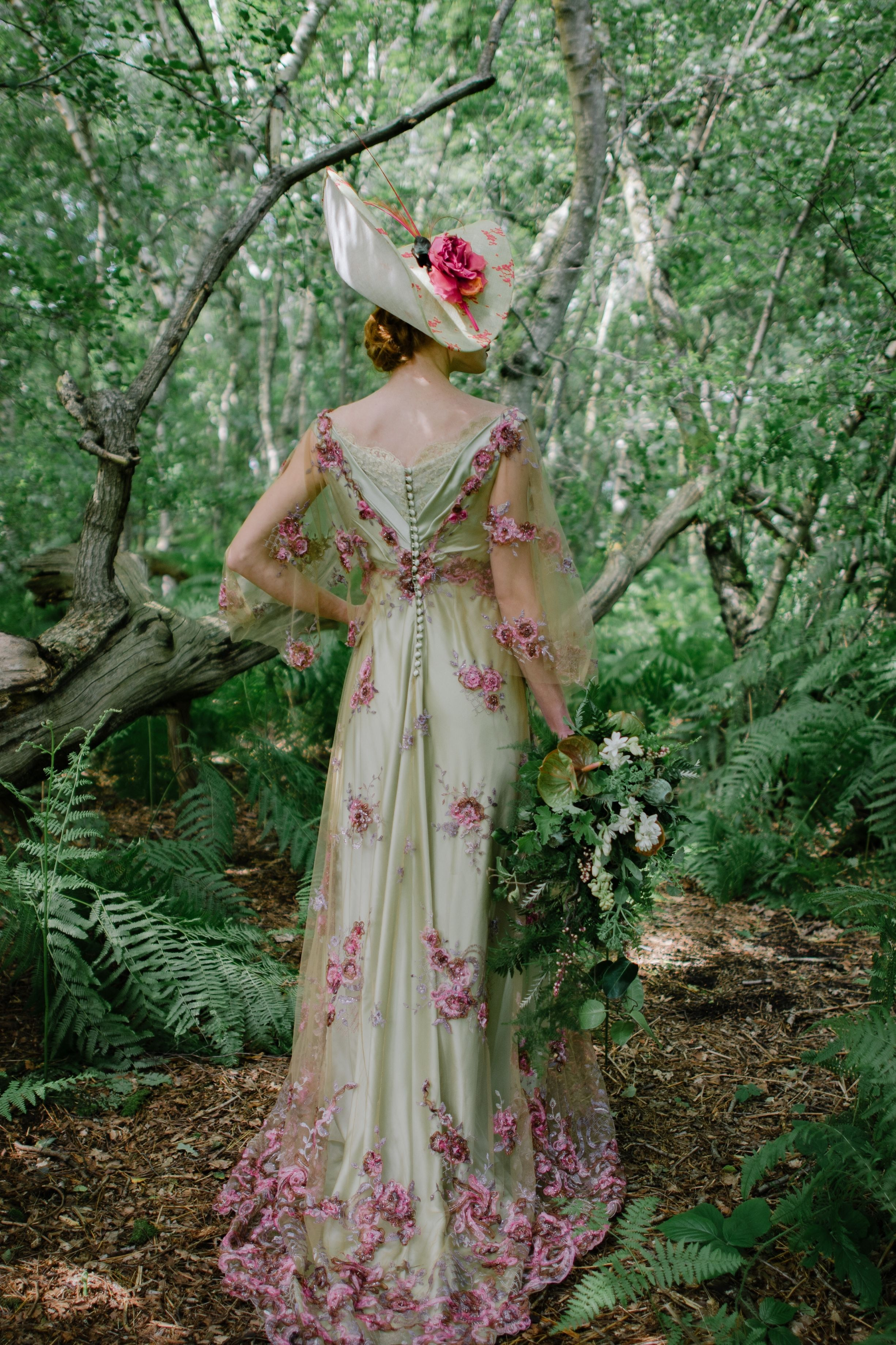 Belle epoque inspired dress in green silk and floral tulle