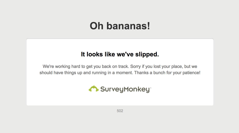 Survey Monkey Maintenance Message
