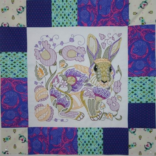 Roberta Rabbit - Machine Embroidery Design using Tula Pink Slow & Steady Fabric.