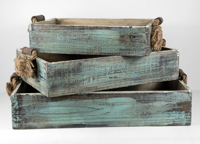 Wood trays with rope handles craft things and crates
