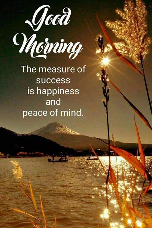 Happiness And A Peace Of Mind Good Morning Beautiful Quotes Good Morning Quotes Good Morning Inspiration
