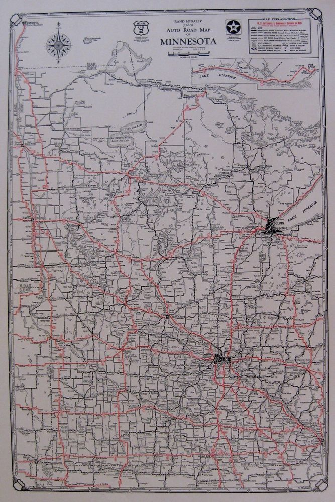 1930 Antique Minnesota State Map Auto Trails Road Map RARE Poster
