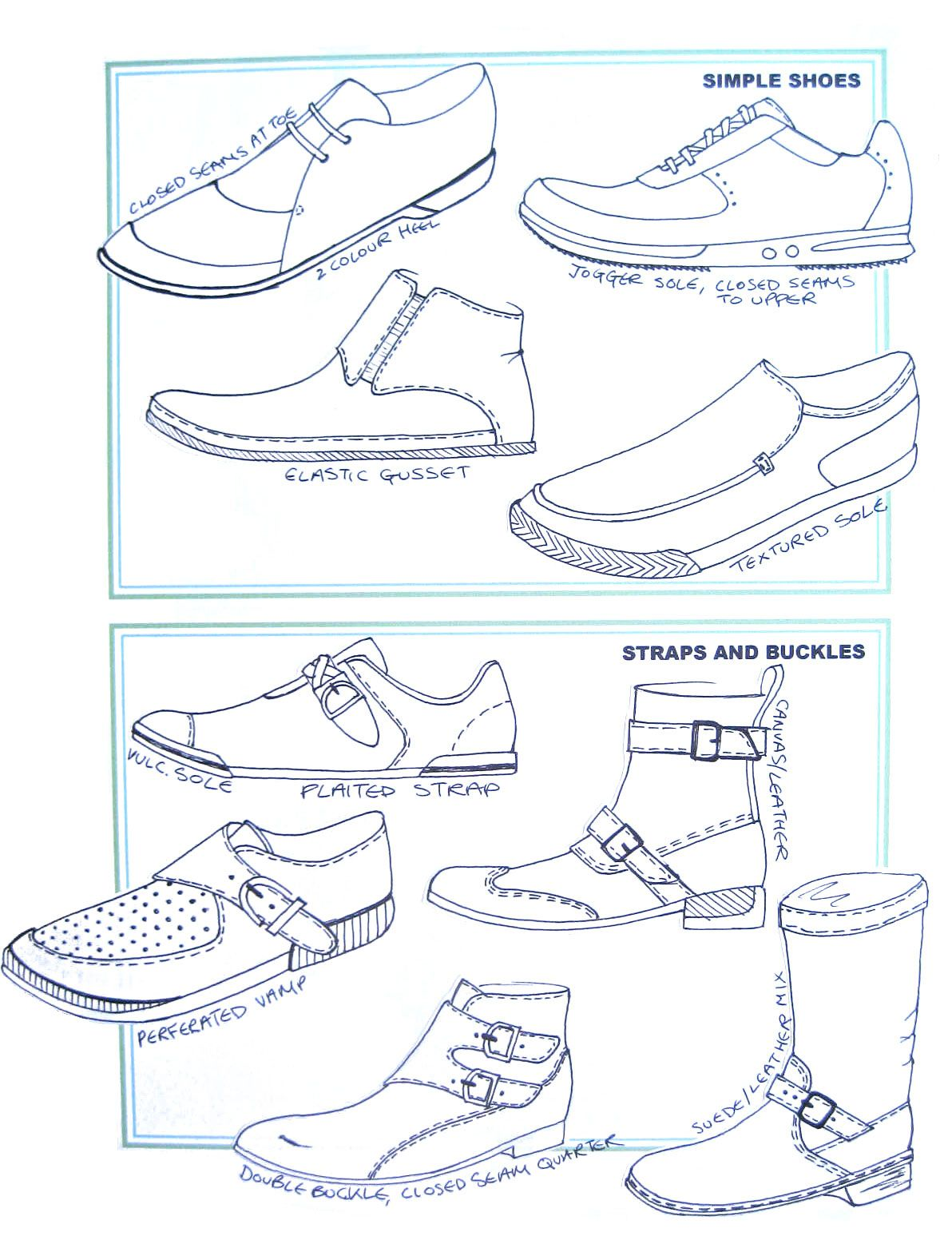 Chart of simple shoes, and shoes with straps and buckles