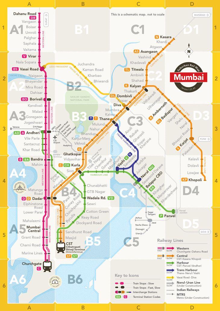 Mumbai Suburban Rail Map Graphic Pinterest Mumbai and Explore