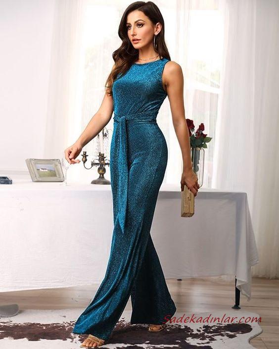 2020 Bayan Abiye Tulum Modelleri Kirmizi Kolsuz Yarim Balikci Yaka Kumas Kemerli Dantel Detayli 2020 Kiyafet Moda Stilleri Resmi Elbise