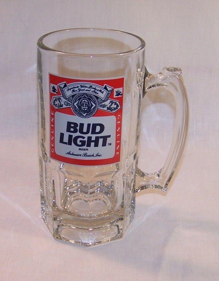 Bud Light Extra Large Heavy Clear Glass Beer Mug 32 Oz Budlight