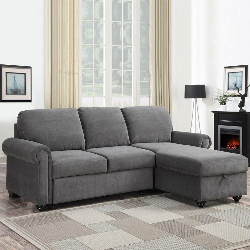 Superb Newton Chaise Fabric Sofa Bed With Storage Grey Costco Uk Machost Co Dining Chair Design Ideas Machostcouk