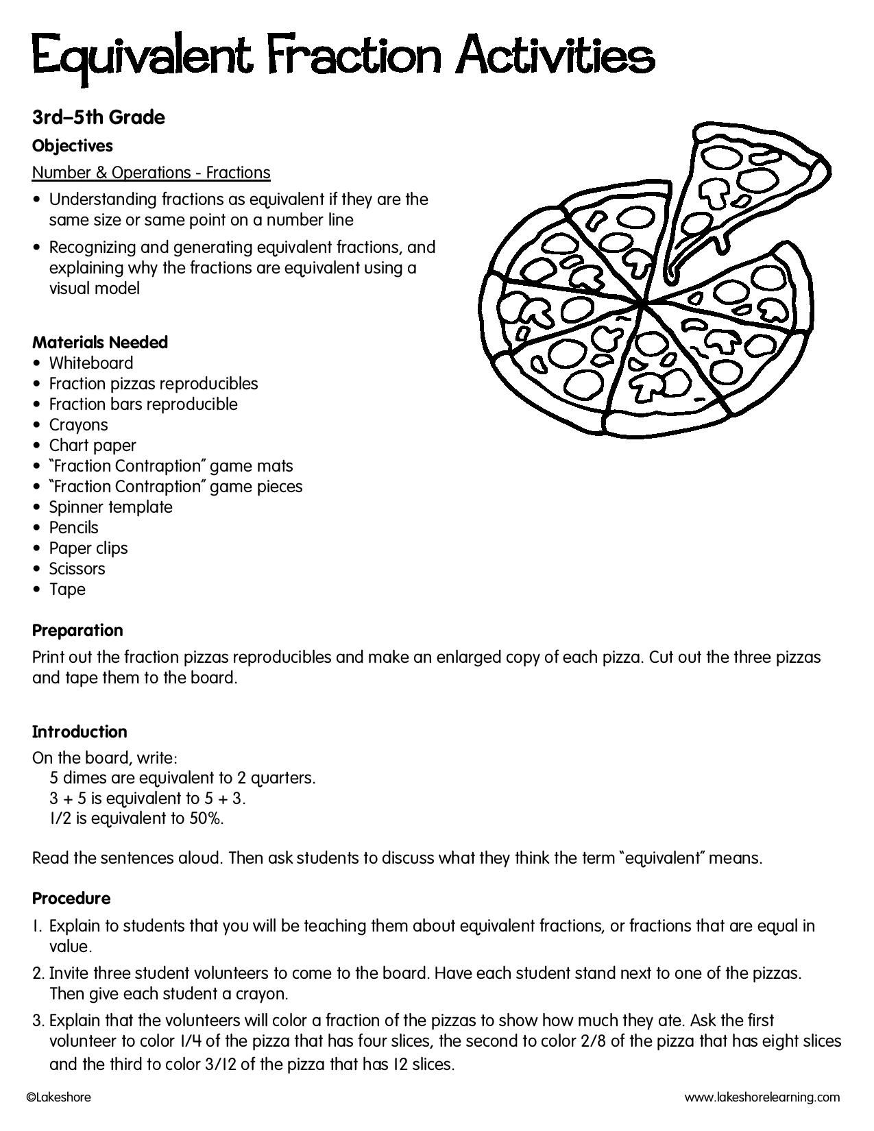 Equivalent Fraction Activities Lessonplan Math