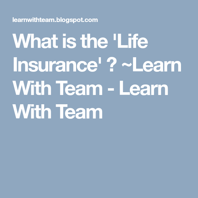 What Is The Life Insurance Learn With Team Learn With Team What Is Life About Learning Life Insurance