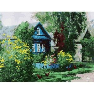 Домик в деревне Раскраска картина по номерам акриловыми ...