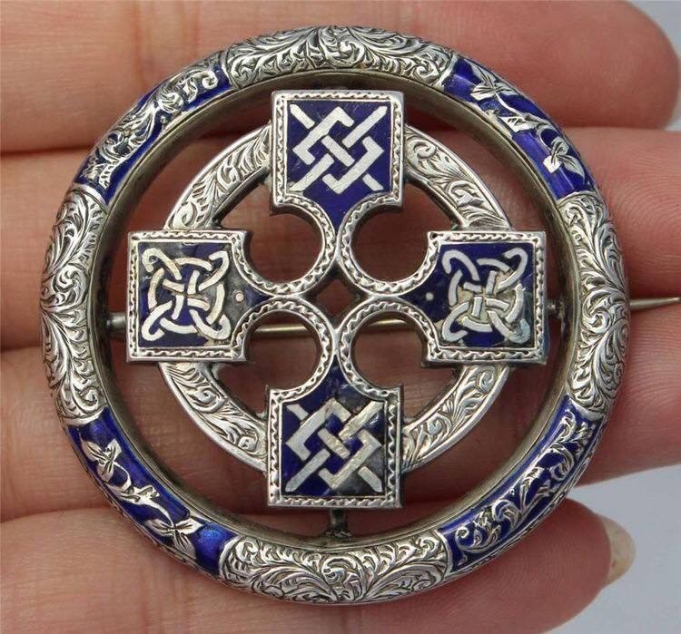 Badge Blue Celtic Pagan Solar Cross Brooch in Gift pouch