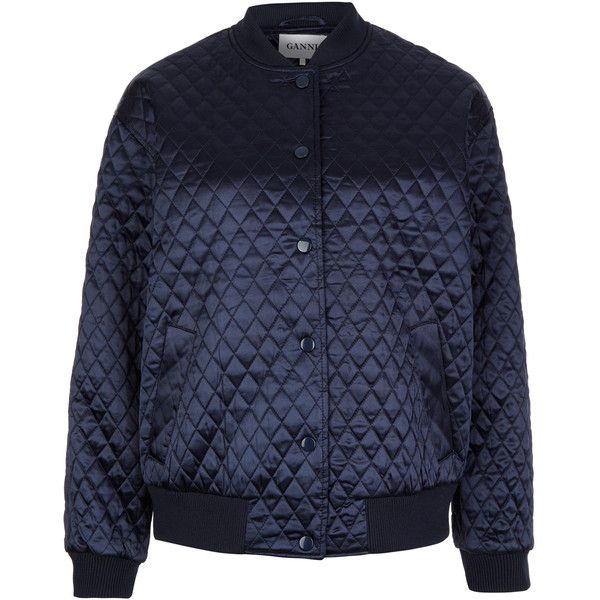 fb113bd84 Ganni Navy Quilted Satin Bomber Jacket ($260) ❤ liked on Polyvore ...