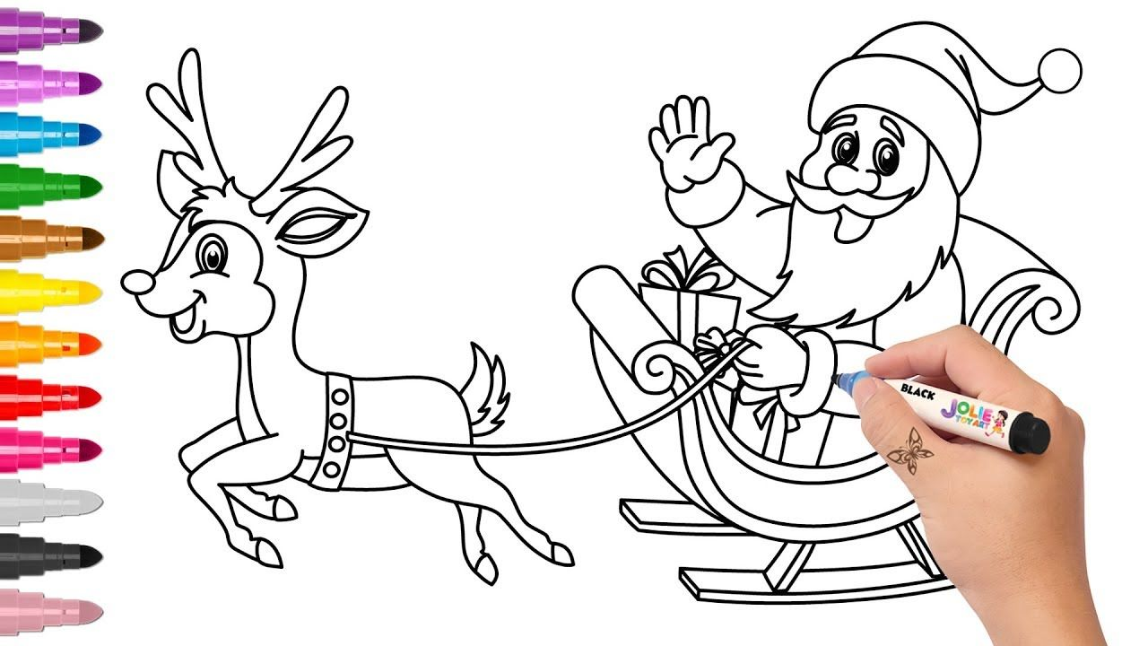 How To Draw Santa S Sleigh And Christmas Tree For Kids Santa
