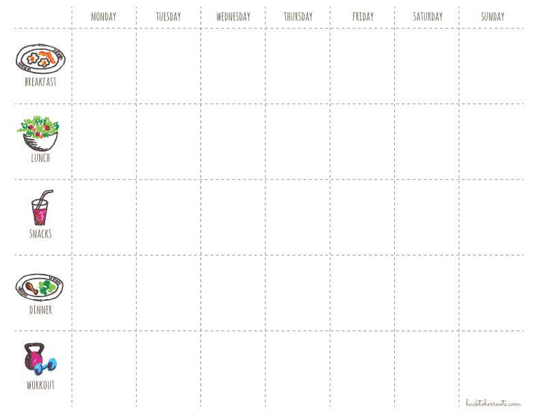 Menu  Exercise Planner Free Printable  Exercise Planner Menu