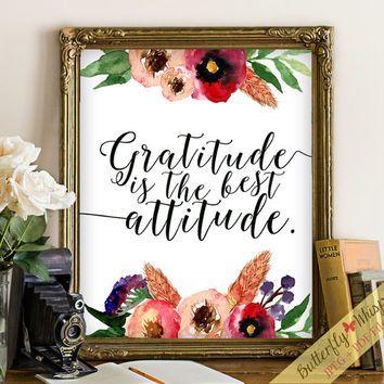 Gratitude Quote Wall Art Print Decor Art Flower Wall Art