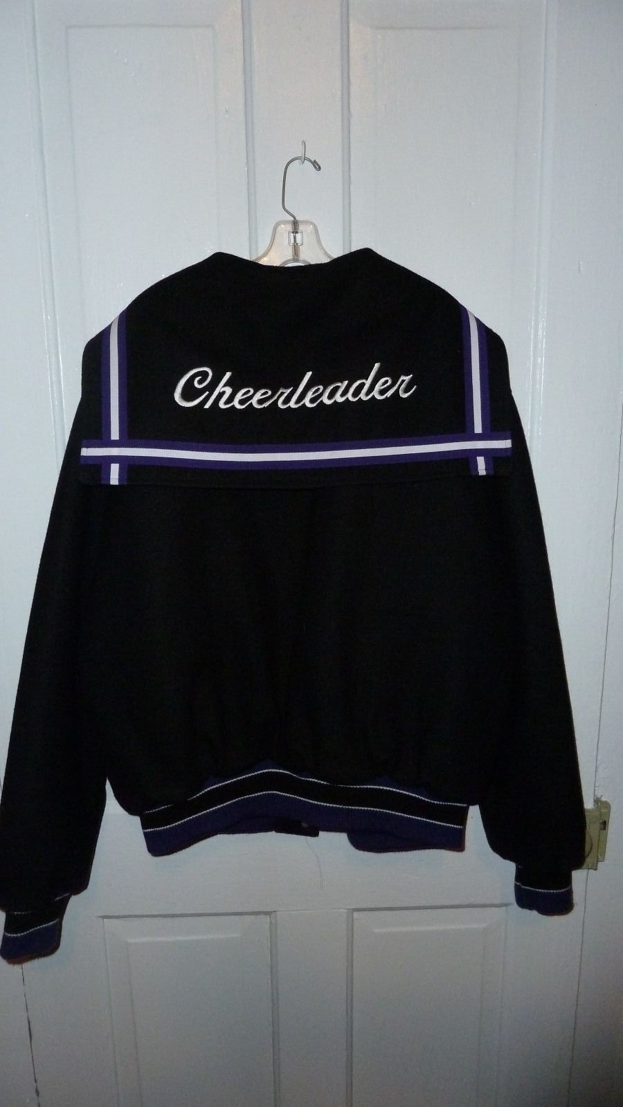 Rennoc classic womenus lettermanus jacket xl black purple white