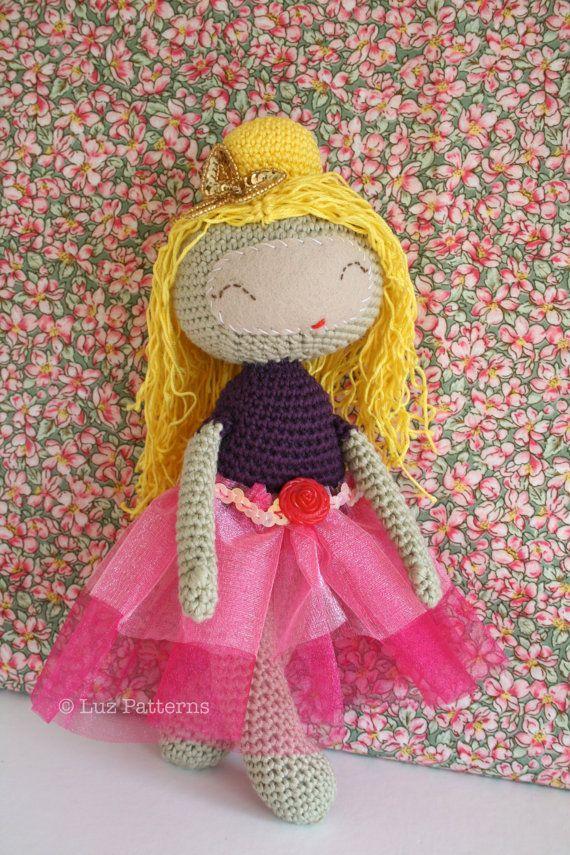 Crochet doll pattern, princess doll pattern, pricess girl crochet ...