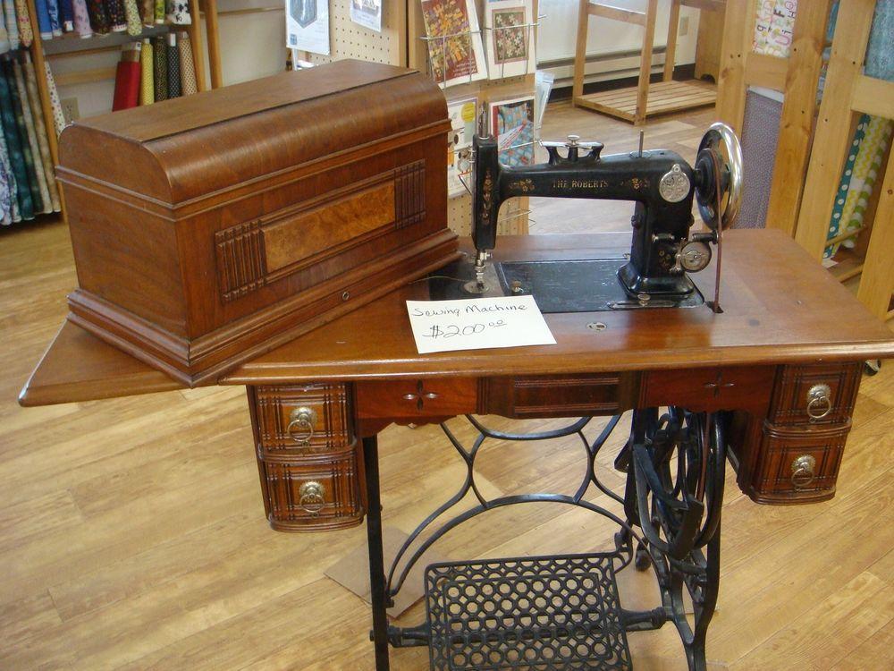 Roberts Treadle Antique Sewing Machine Coffin Model Antique