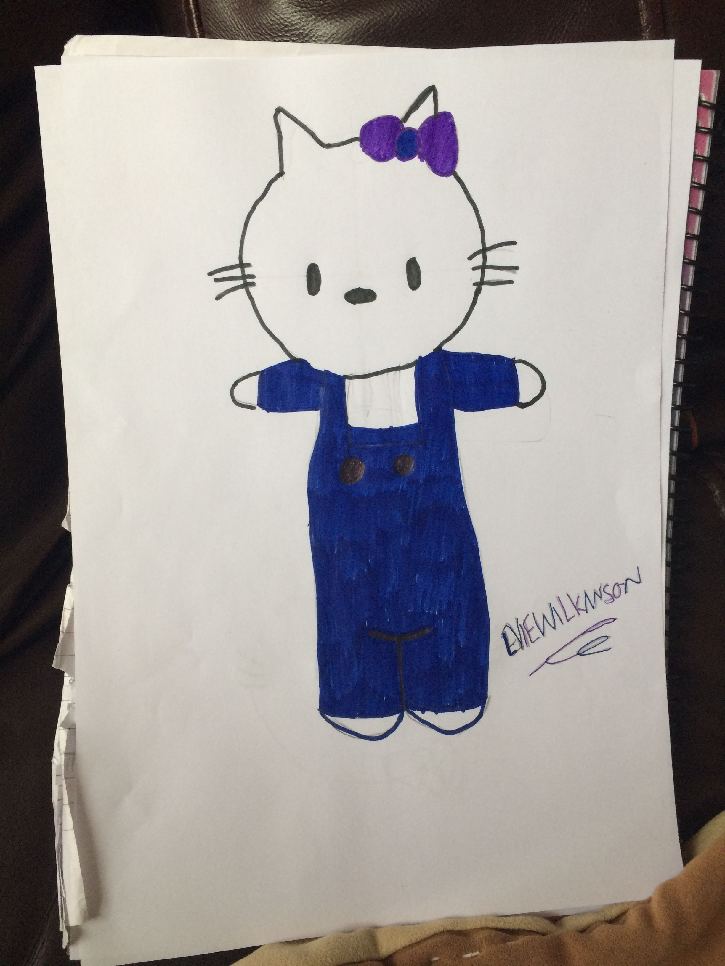 A home-drawn image of the Disney character Hello Kitty 🐱. Drawn by me!! OPINIONS PLEASE!!