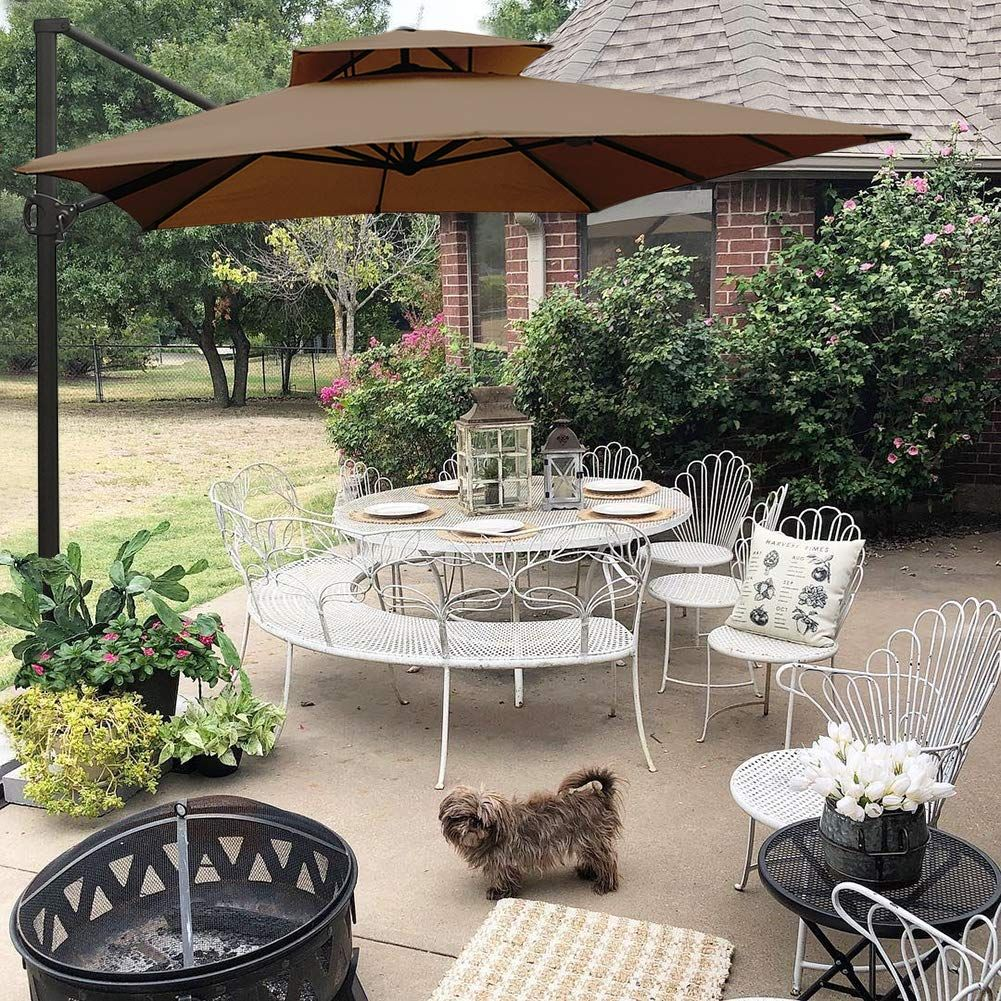 Abba Patio 9 By 12 Feet Rectangular Offset Cantilever Dual Wind Vent Patio Hanging Umbrella With Cross Base Cocoa Cantilever Umbrella Patio Umbrella Outdoor Patio