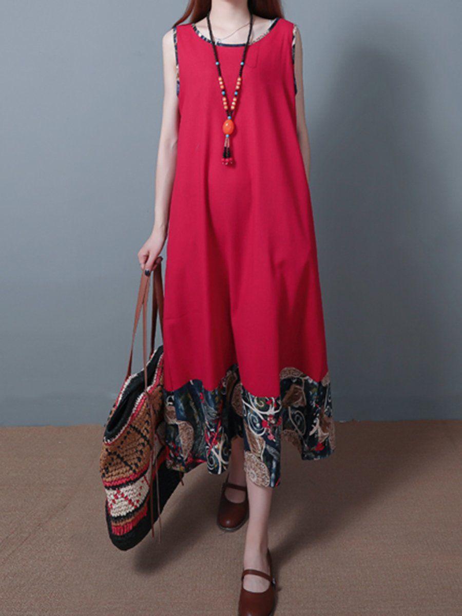National Wind Women Dress Loose Round Neck Sleeveless Casual Beach Mini Dress