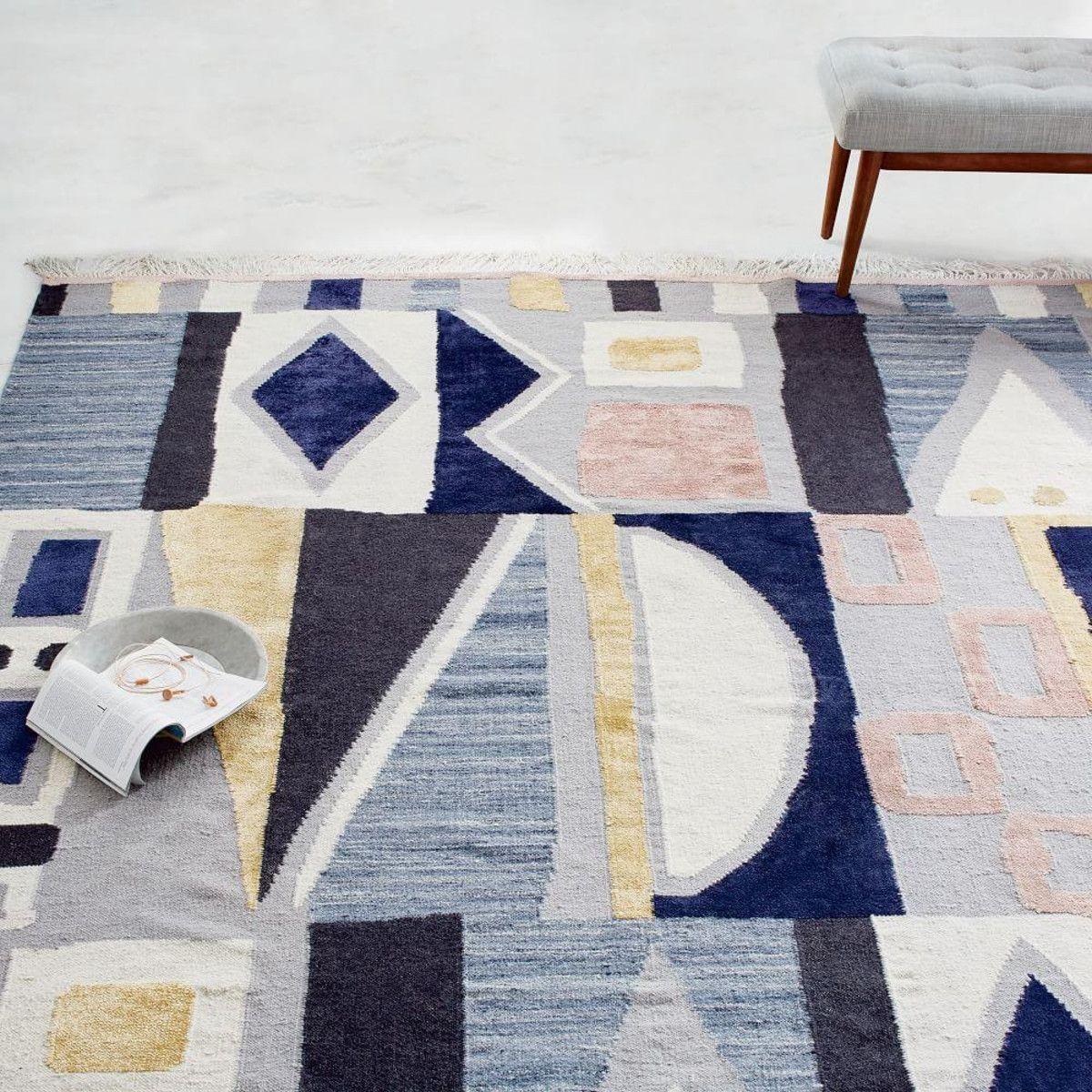 Vienna Wool Dhurrie Cobalt Wool Kilim Rug Floor Rugs Modern Wool Rugs