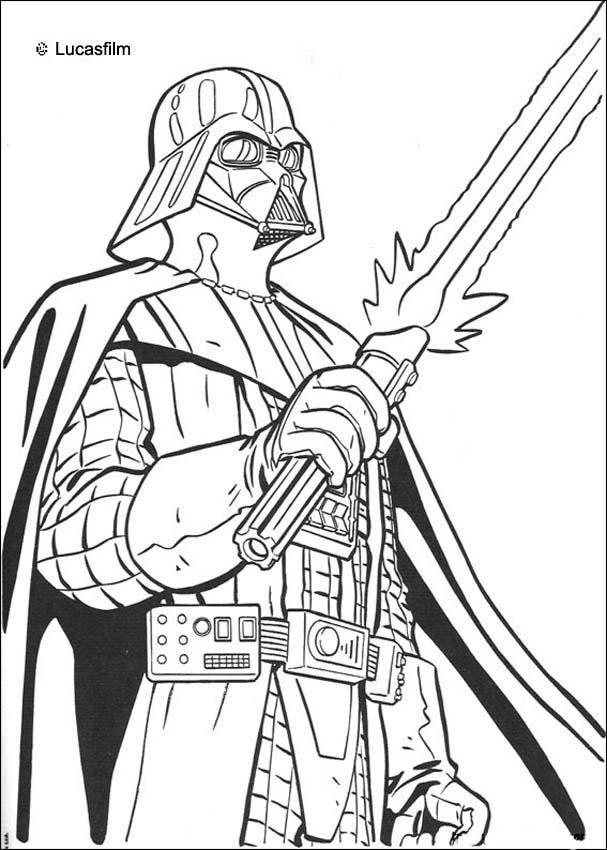 Coloriage De Star Wars De Dark Vador Et Son épée Laser Un