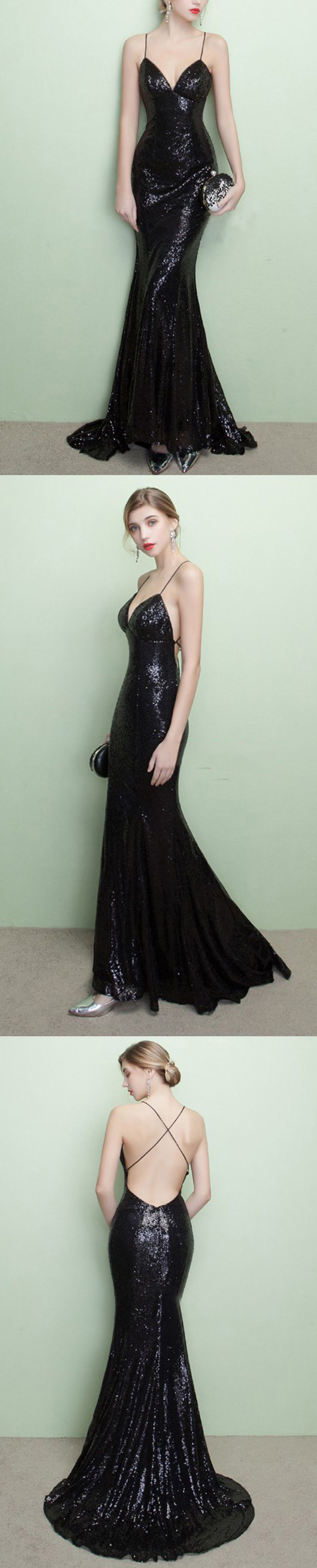 Sparkly black sequins prom dresslace up back prom dressspaghetti