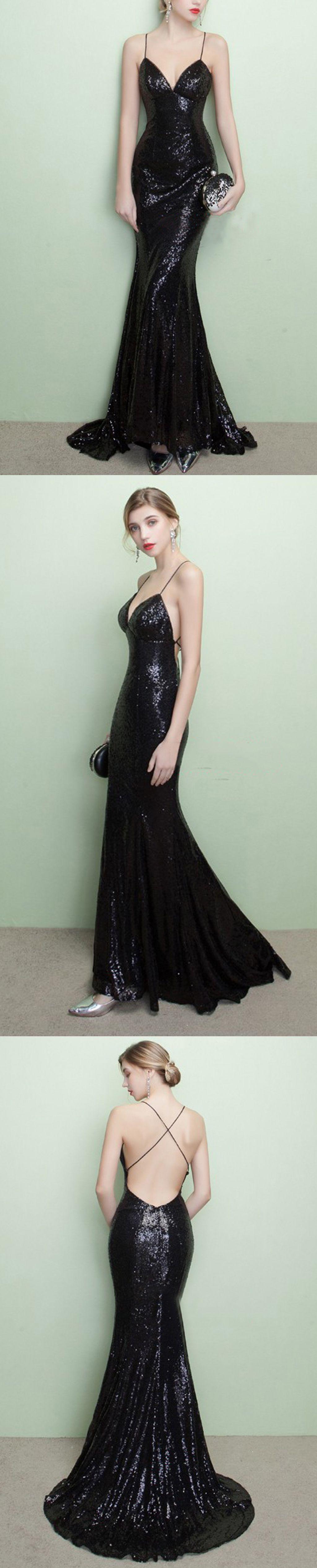 Sparkly black sequins prom dresslace up back prom dressspaghetti
