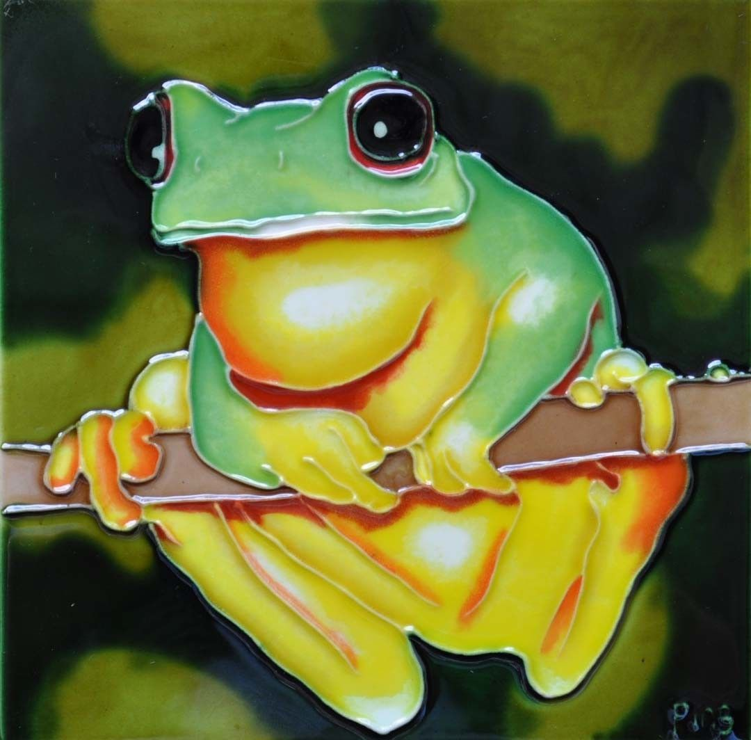 Yellow Belly Frog Tile Wall Decor | Frogs, Painting prints and Products