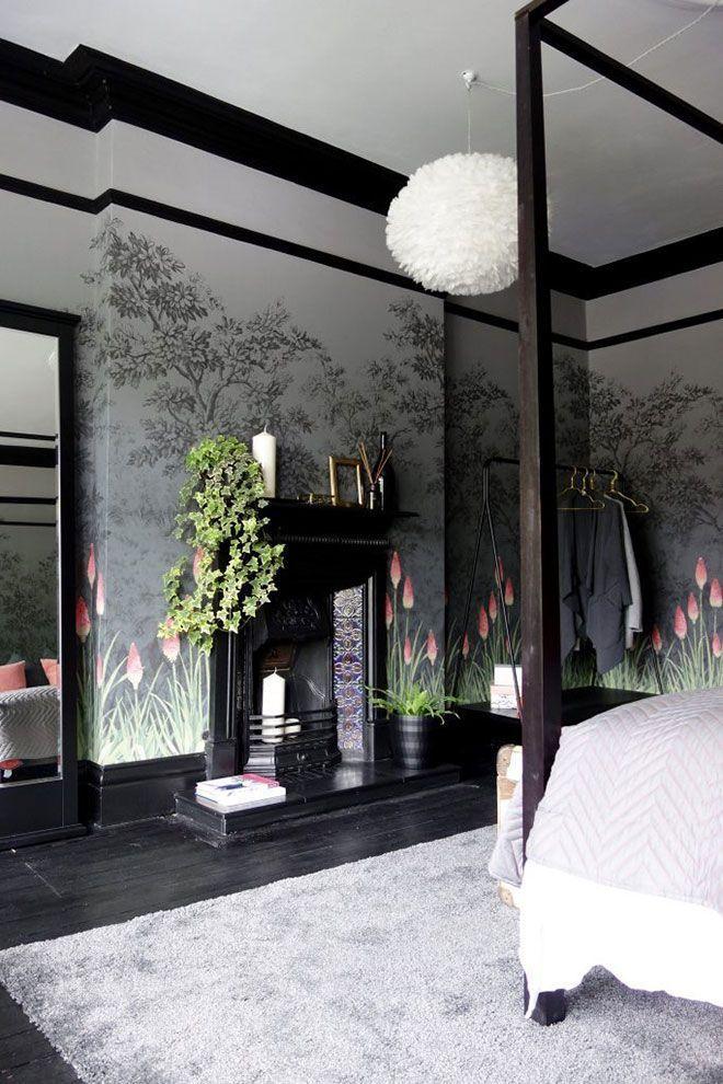 〚Magic English Schlafzimmer mit kühnen Blumentapeten