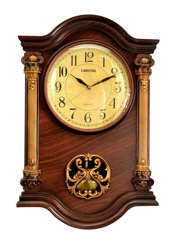 High Quality Antique Linseng Wooden Pendulum Polyresin Wall Clock ...