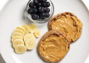 PB&B Sandwich  A yummy breakfast that will keep you full until lunch.   Spread 1 tbsp of light peanut butter onto both halves of a whole wheat english muffin. Add sliced banana and eat as an open faced sandwich. Add a side of 20 blueberries.