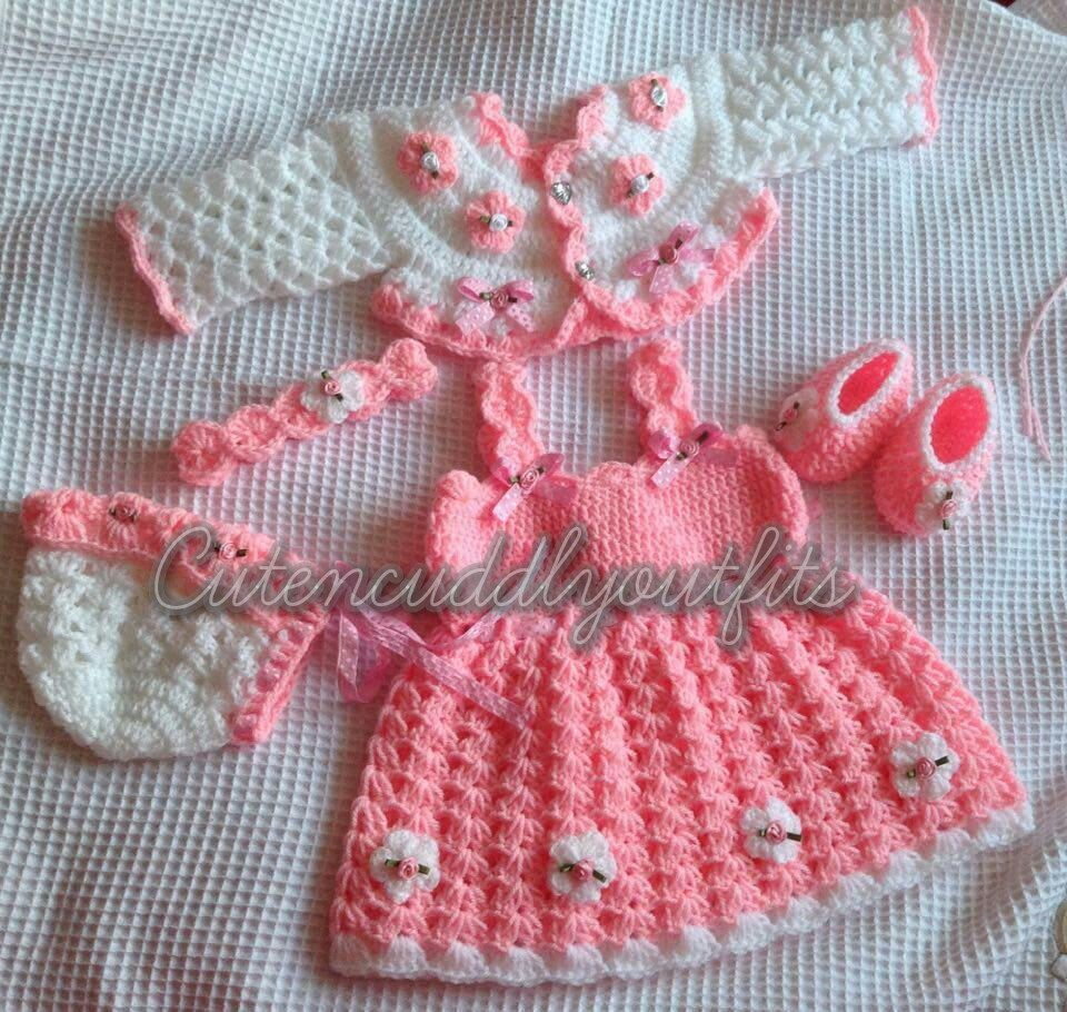 Baby dress, pink baby dress, Crochet baby dress, baby shower gift ...