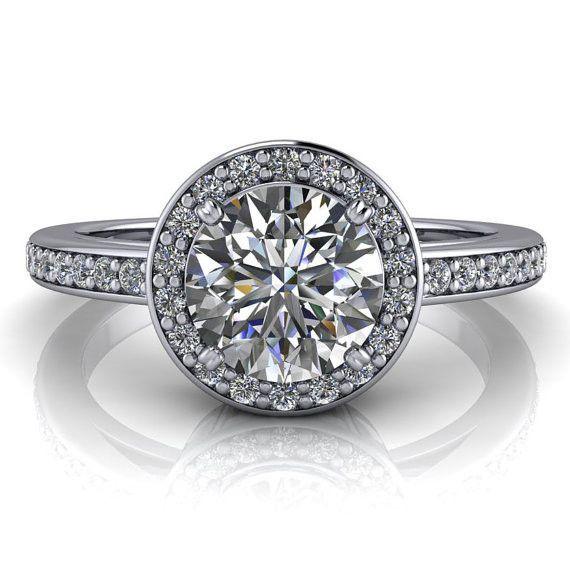 Diamond Halo Engagement Ring - Paris