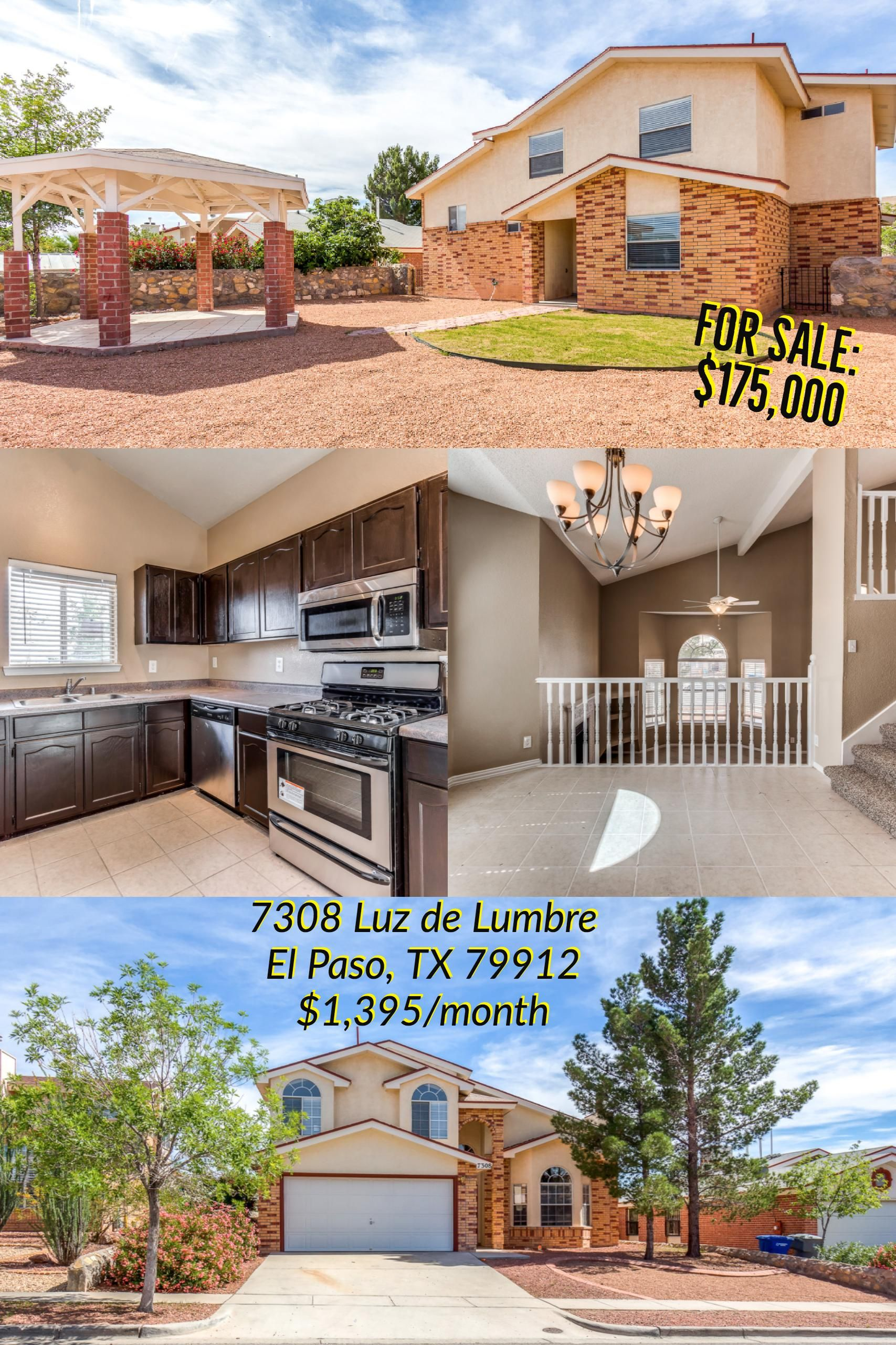 Home For Rent Lease W Option To Purchase And For Sale Divine Multi Level Westside Home With Gazebo Elpaso Elpa Renting A House Bachelor Pad House Styles