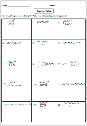 Preview: Laws of Exponents Worksheets | classroom ...