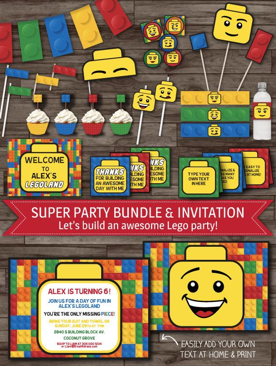 INSTANT DOWNLOAD Lego Party Pack Birthday Decoration Boys Invitations Banner Labels Toppers