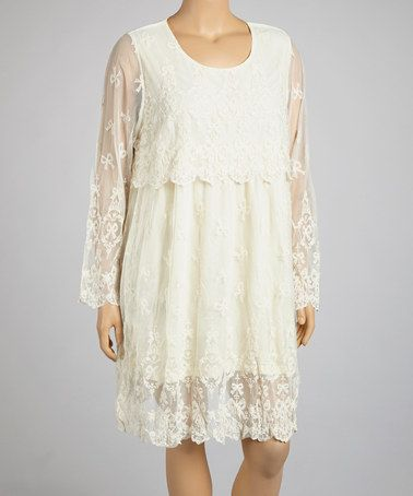 Another great find on #zulily! Beige Sheer Dress - Plus by Lady Noiz #zulilyfinds