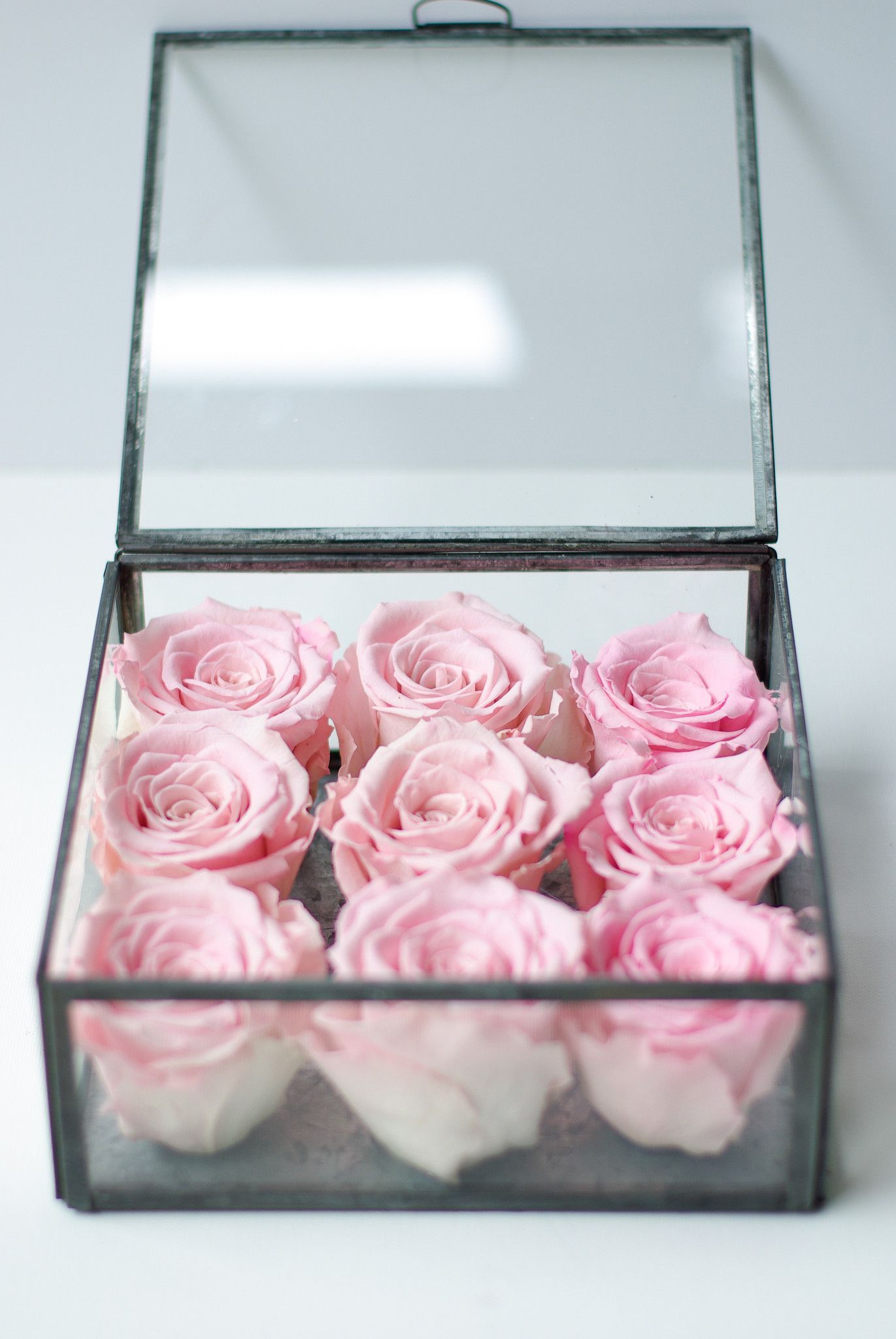 A Gift Of Roses Like Never Before Preserved Real Roses Arranged In A Glass Box To Enjoy For Year Preserved Roses Arrangement How To Preserve Flowers Box Roses