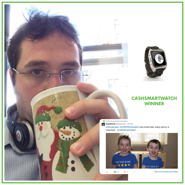 "Congrats to our #CASHSmartwatch contest winner via https://twitter.com/smarkman  ""Two small kids, every penny is important"" #WinningTweet #SaveMoney #Budget"