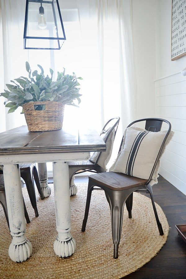 Delicieux Rustic Metal U0026 Wood Dining Chairs With A Farmhouse Table.