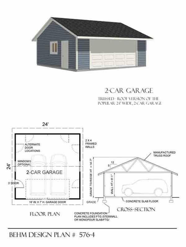 superb gable garage plans #3: Two Car Reverse Gable Garage Plan 576-4 24u0027 x 24u0027 by Behm